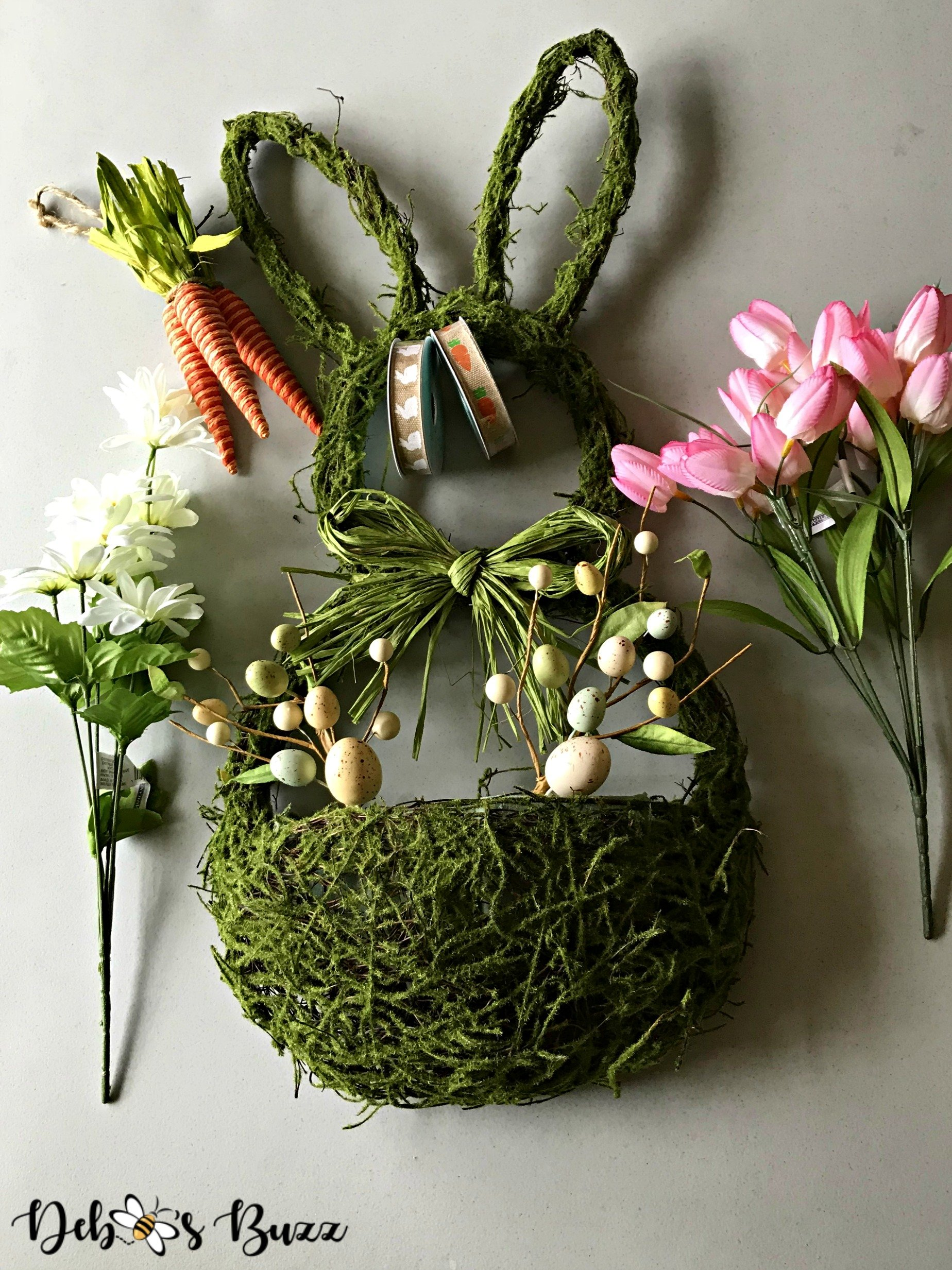 Adorable Diy Moss Bunny Wreath With Basket Of Flowers