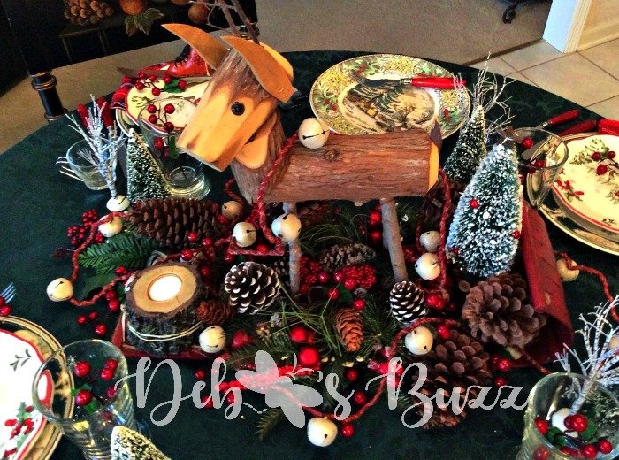 Deer centerpiece woodland tablescape