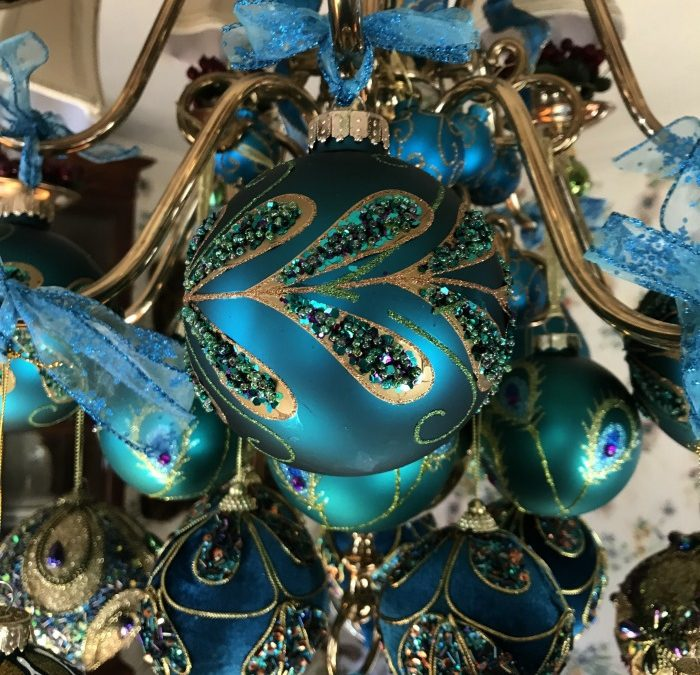 Peacock Ornaments Decorate Chandelier at Christmas
