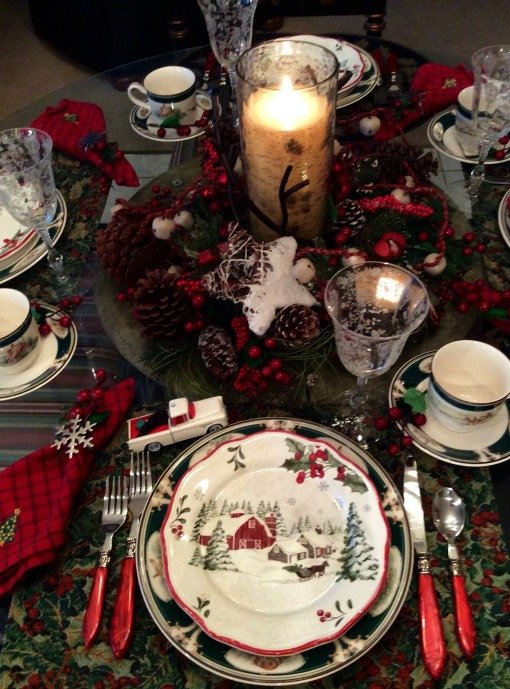 Christmas red barn tablescape