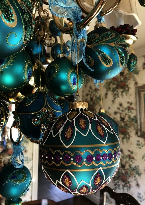 peacock ornament painted
