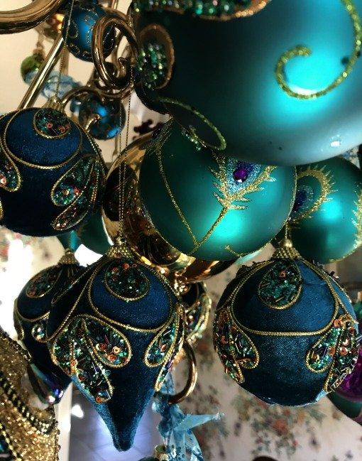 peacock velvet ornaments