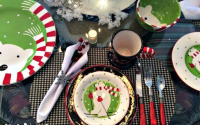 Polar Bear Frolic in Sleigh Ride Tablescape