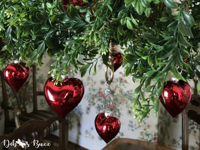 Decorating with Red Heart Ornaments for Valentines Day