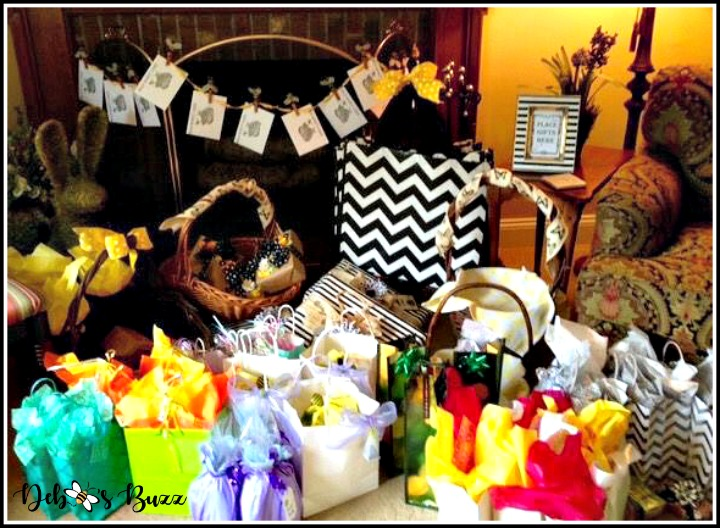 favorite-things-party-bee-theme-gift-pile