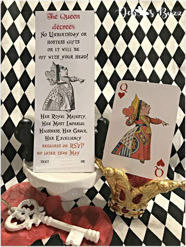 DIY Alice in Wonderland Invitation 4th My Favorite Things Party