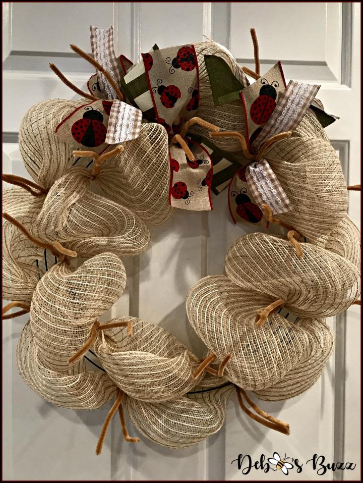 ladybug-wreath-tan-mesh