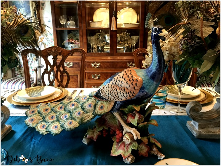 Exotic Peacock Tablescape Graces Formal Dining Room