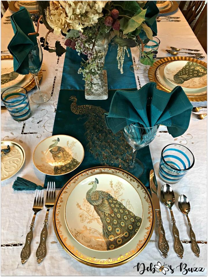 peacock-tablescape-host-setting-overhead
