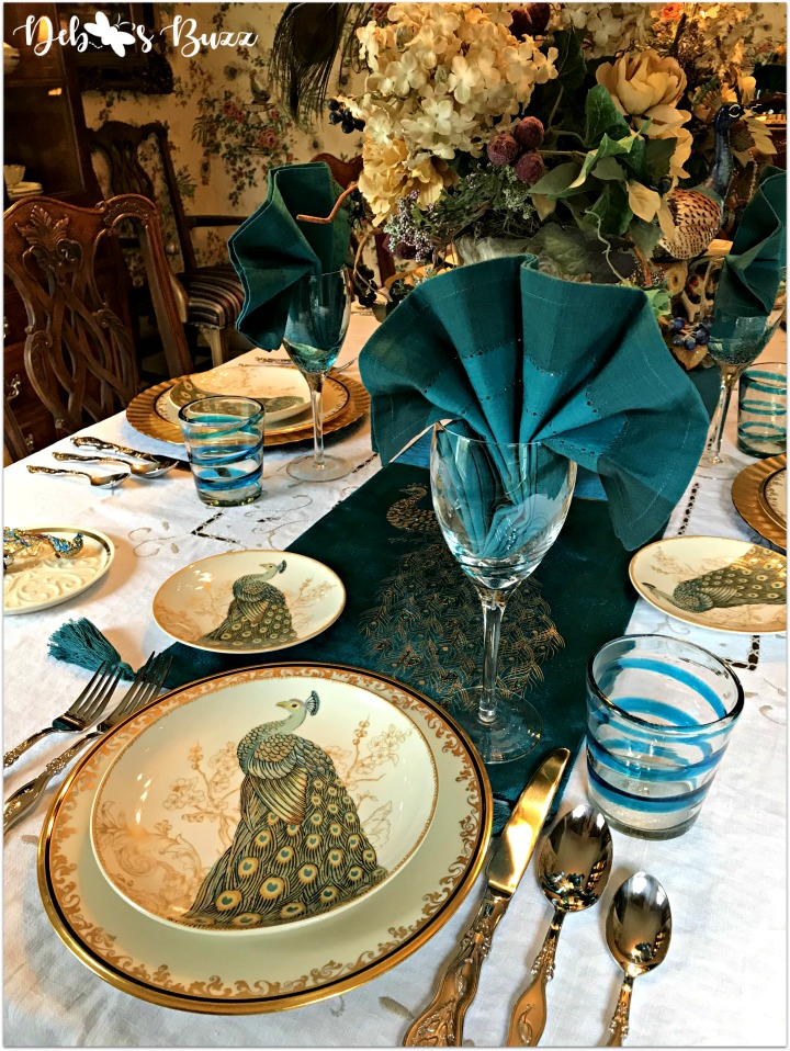 Exotic Peacock Tablescape Graces Formal Dining Room Debbee S Buzz