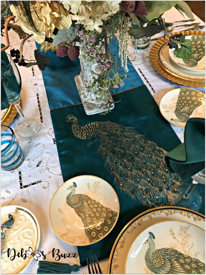 peacock-tablescape-runner-overhead