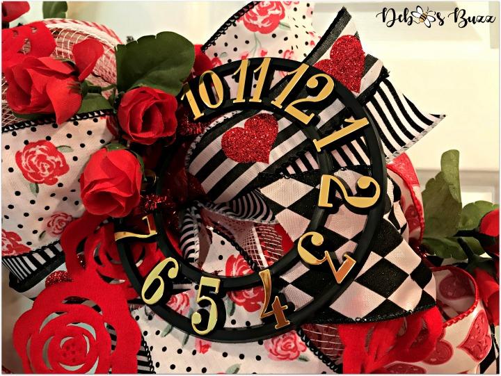 alice-in-wonderland-theme-wreath-tea-roses-clock-white-door