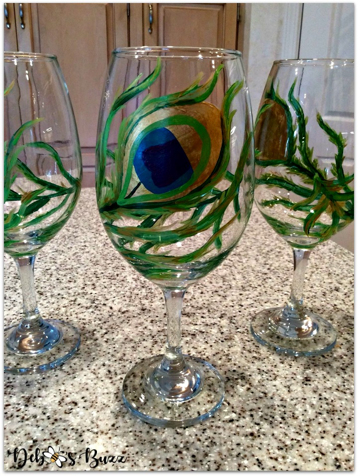 peacock-party-favors-painted-feather-goblet-trio