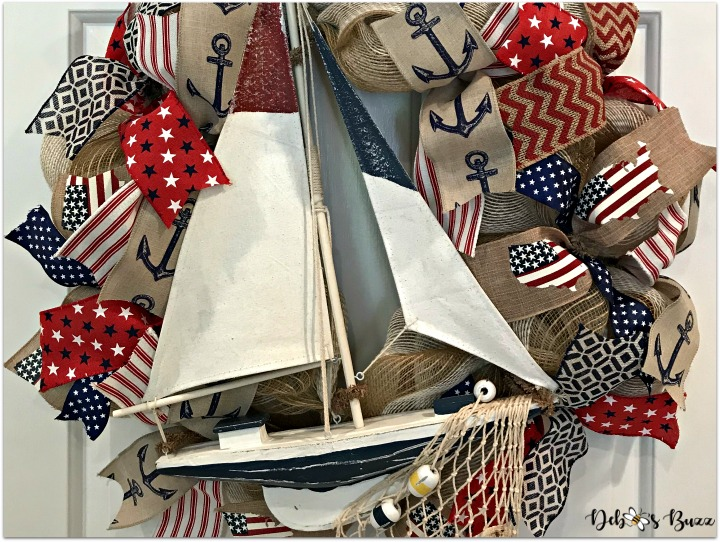 Smooth Sailing Wreath Flying Red, White and Blue Colors