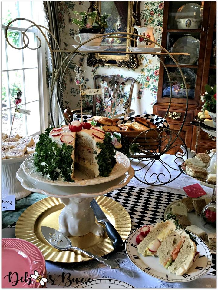 alice-wonderland-unbirthday-party-buffet-sandwich-cake