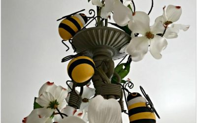Bee Decorated Chandelier Compliments HapBEE Birthday Table