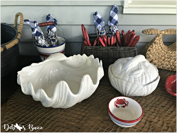 coastal-buffet-table-seashell-serving-bowl-covered-lobster-dish