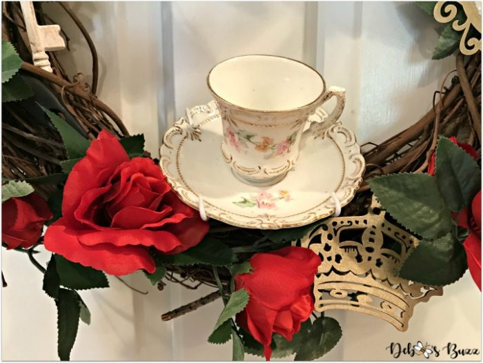 Queen of Hearts Roses and Teacup Grapevine Wreath