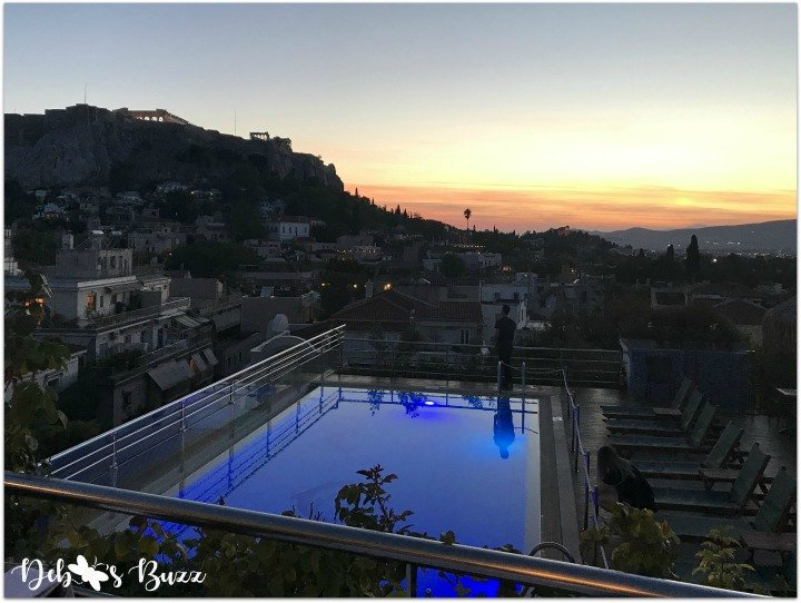 Athens-Greece-day2-Electra-Palace-rooftop-restaurant-pool-sunset-view