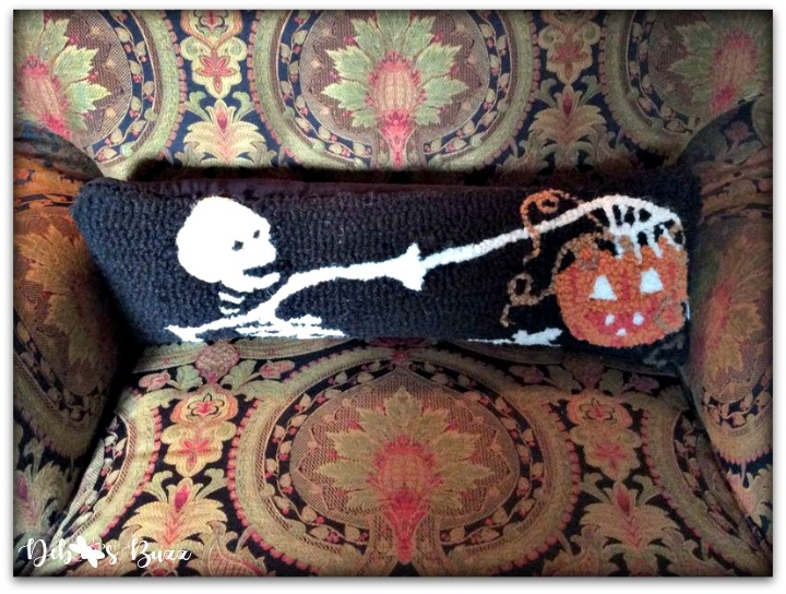 Halloween-decor-home-tour-skeleton-pillow