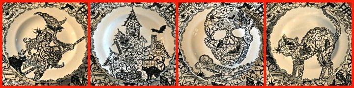 spooky-Halloween-tablescape-eye-newt-wiccan-lace-plate-collage