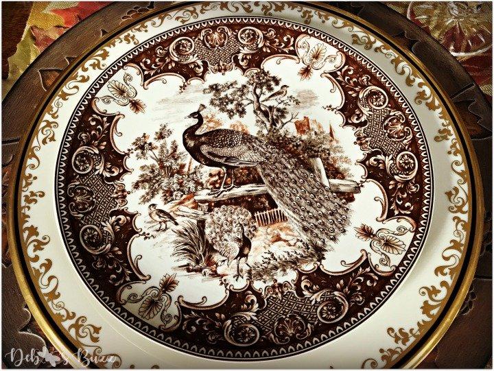 horn-of-plenty-Thanksgiving-table-peacock-plate-brown-transferware