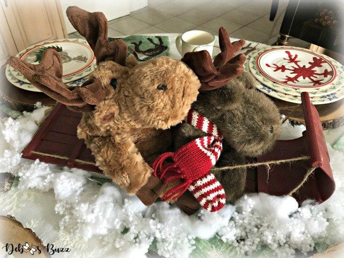 Moose Toboggan Ride Tablescape Winter Fun