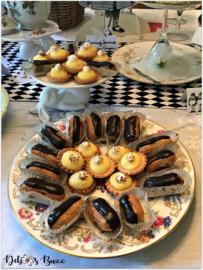 alice-in-wonderland-tea-party-menu-eclairs-lemon-tarts