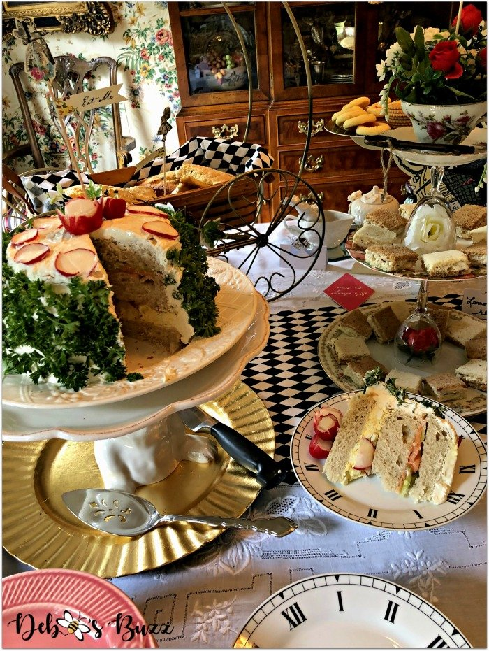 alice-in-wonderland-tea-party-menu-sandwich-cake-display