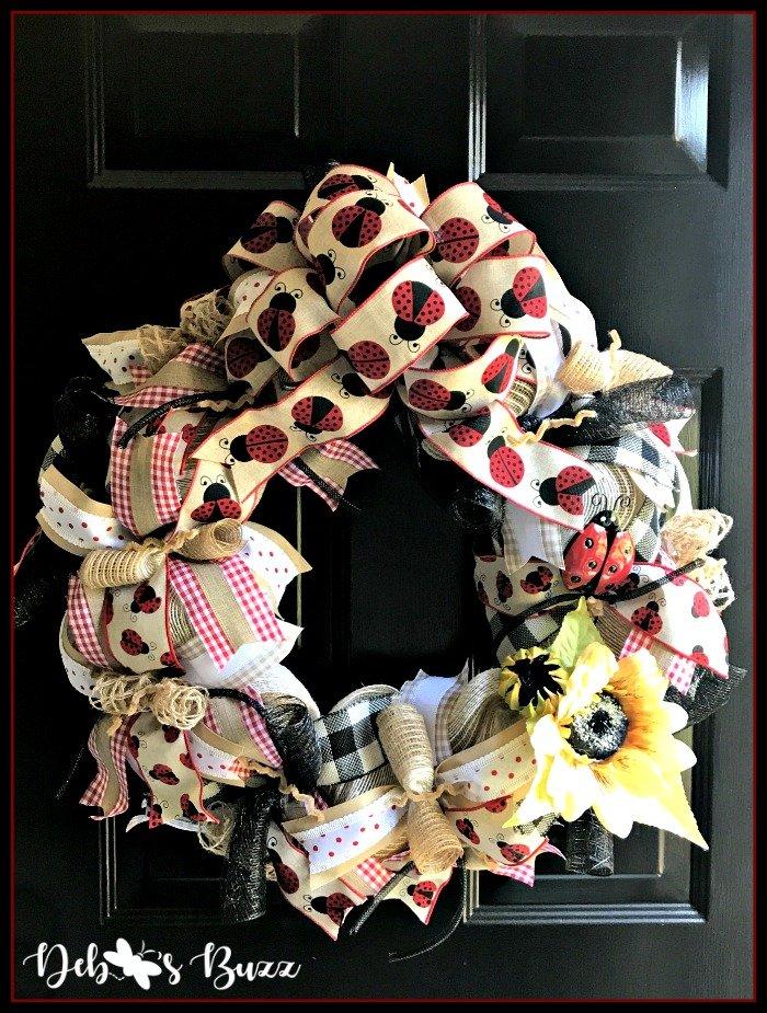 ladybug-mesh-wreath-sunflower-black-door