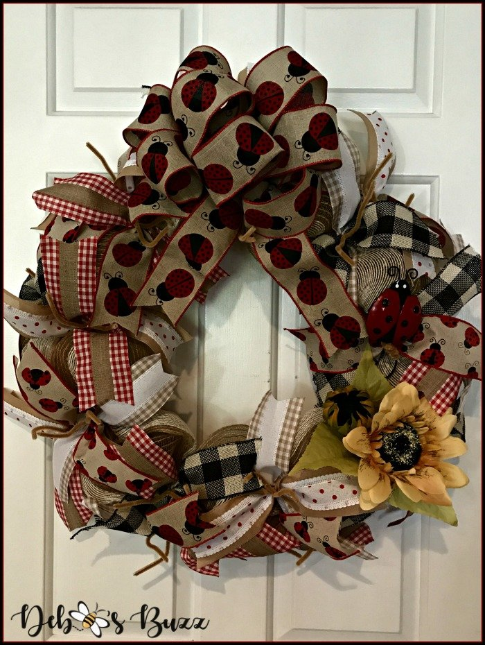 ladybug-mesh-wreath-bow-sunflower-added