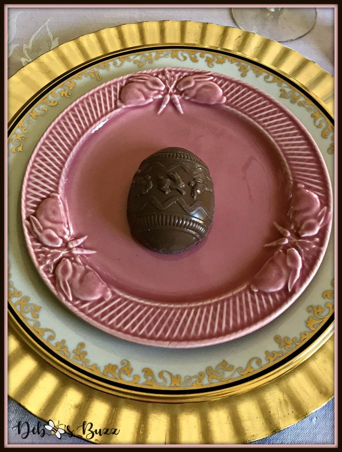 vintage-Easter-table-chocolate-egg-pink-plate