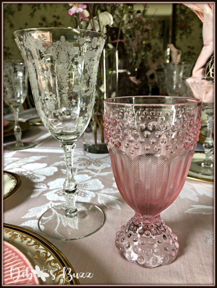 vintage-Easter-table-etched-pink-hobnail-glasses