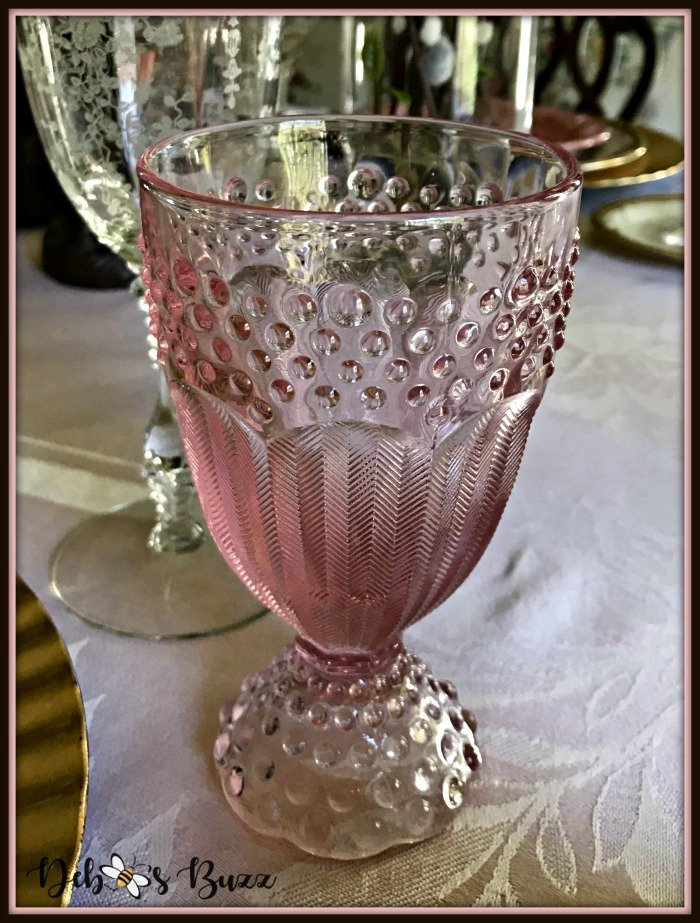 vintage-Easter-table-pink-hobnail-footed-goblet