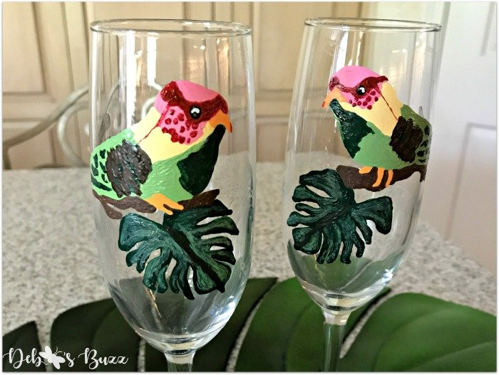wedding-champagne-flutes-tropical-bird-pair