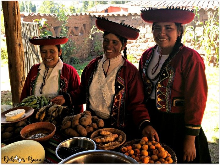Sacred-Valley-trio-Peruvian-women-food-demonstration