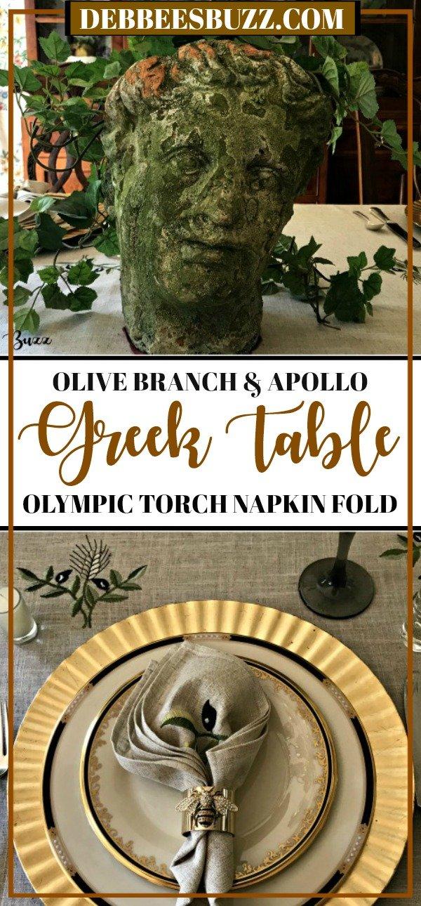 Greek-tablescape-Apollo-Olympic-torch-napkin-fold-pin