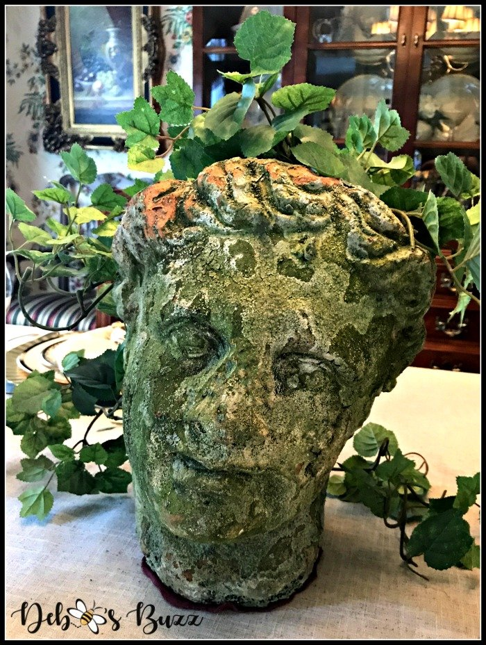 greek-tablescape-Apollo-head-planter-centerpiece