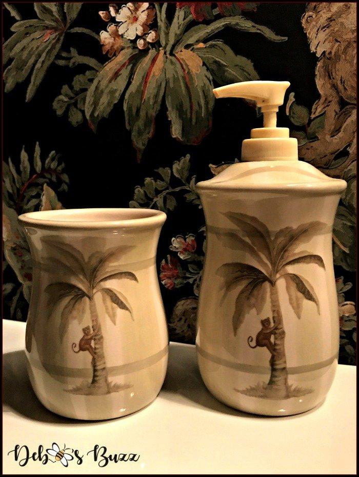 monkey-decor-powder-room-palm-tree-cup-soap-dispenser