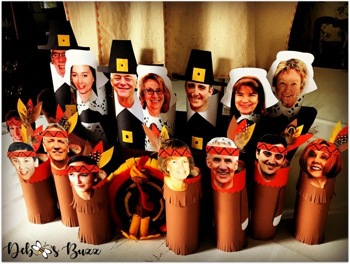 diy-Thanksgiving-table-family-photo-place-cards-pilgrim-Native-Americans-indians