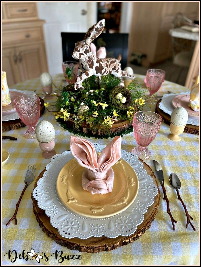 rustic-rabbit-Easter-table-yellow-place-setting