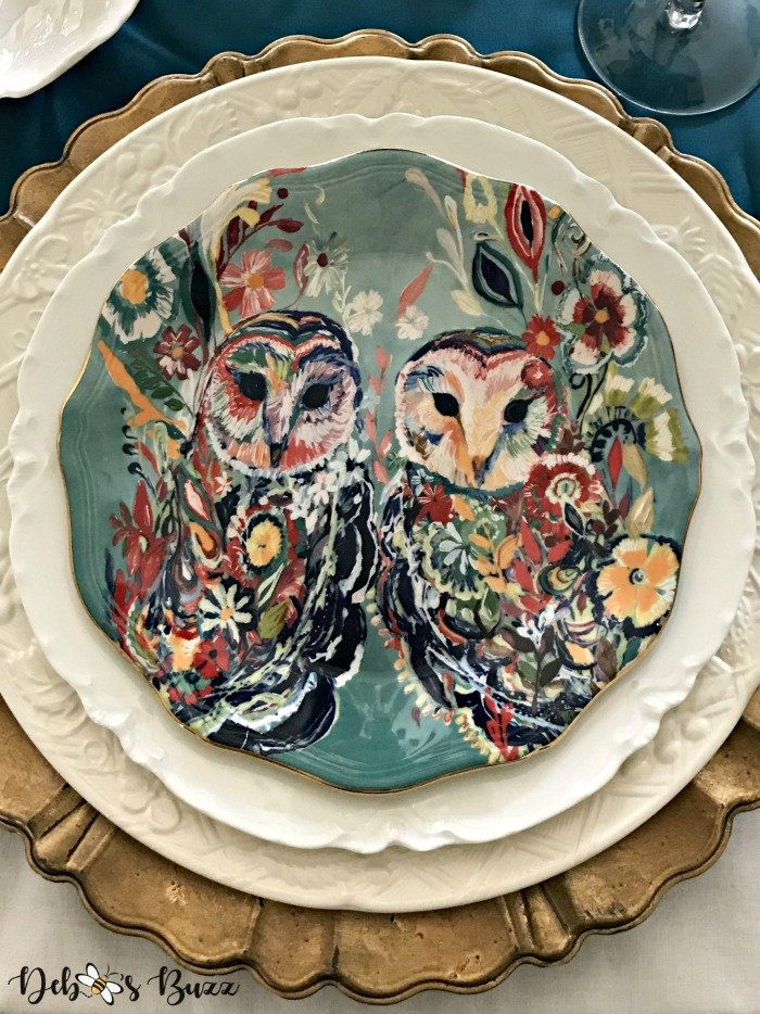 turquoise-scalloped-edge-owl-floral-plate