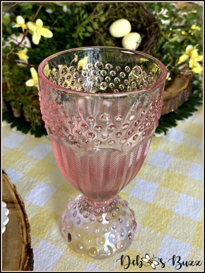 vintage-glassware-pink-hobnail-goblet