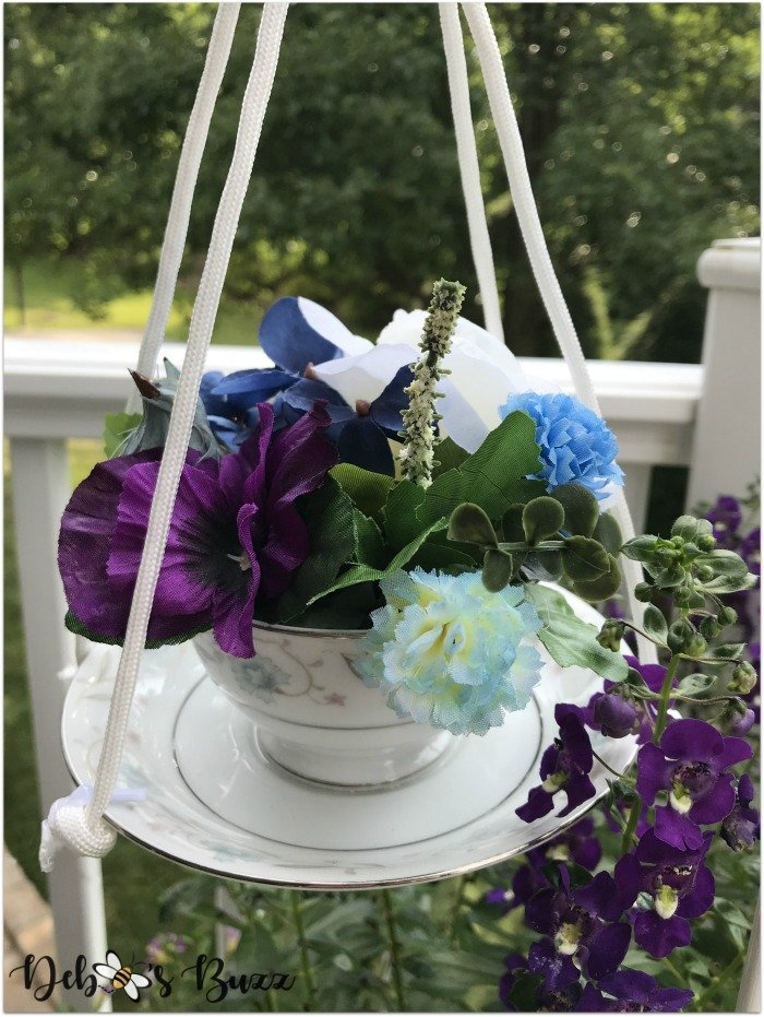 diy-vintage-teacup-garden-stake-purple-blue-flowers