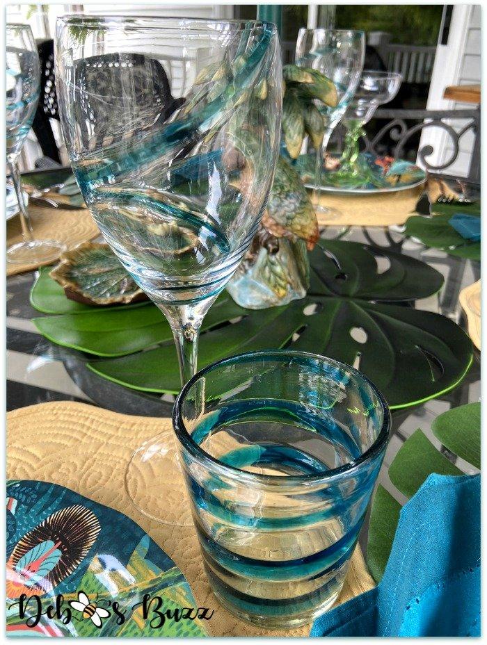 summer-jungle-table-teal-swirl-glasses