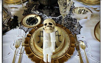 Halloween Gothic Glam Table & Skeleton Napkin Fold