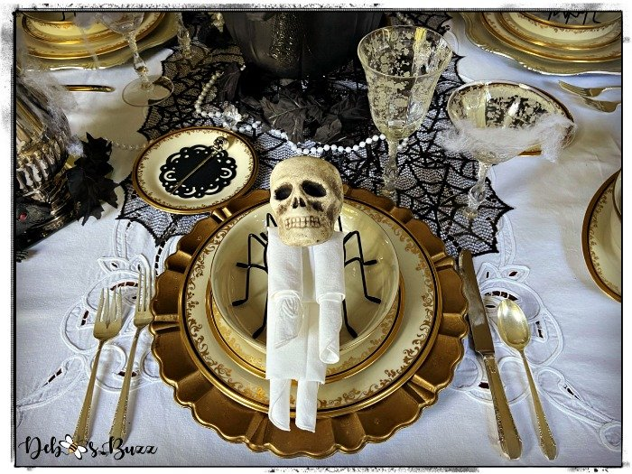Halloween Gothic Glam Table & Skeleton Napkin Fold