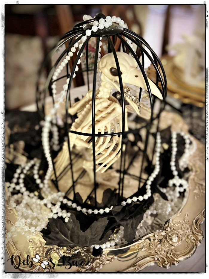 Halloween-gothic-glam-table-skeleton-birdcage-silver-pearls