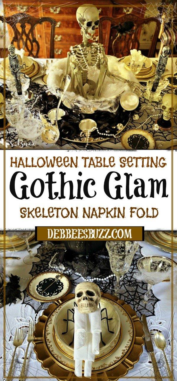party-Halloween-gothic-glam-table-setting-skeleton-napkin-fold
