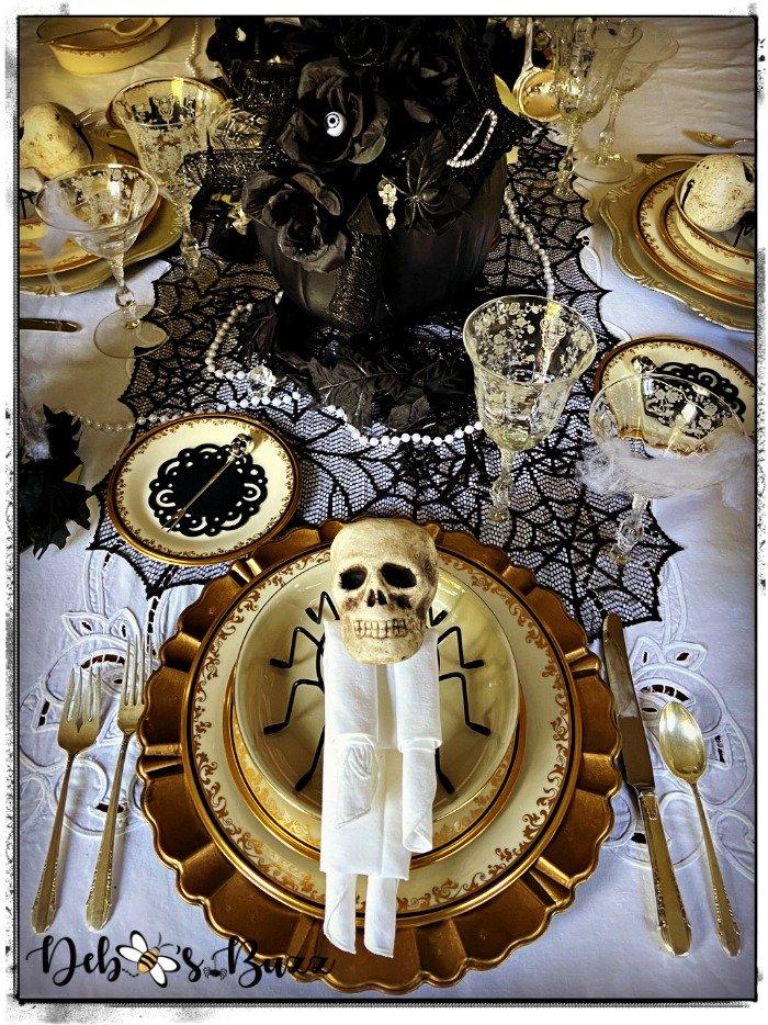 Halloween-gothic-glam-table-setting-skeleton-napkin-fold